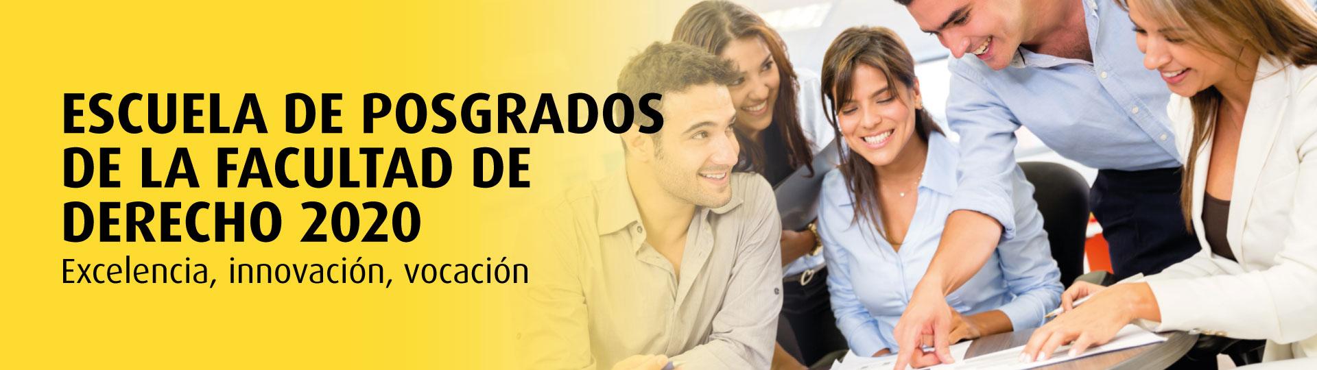 Escuela de Posgrados de la Facultad de Derecho. Banner en color amarillo y negro. Solo letras (banner home)