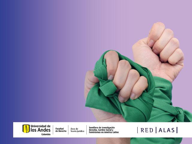Conversatorio: La batalla por el derecho al aborto en Colombia | Dos manos de mujeres cogiendo un paño verde