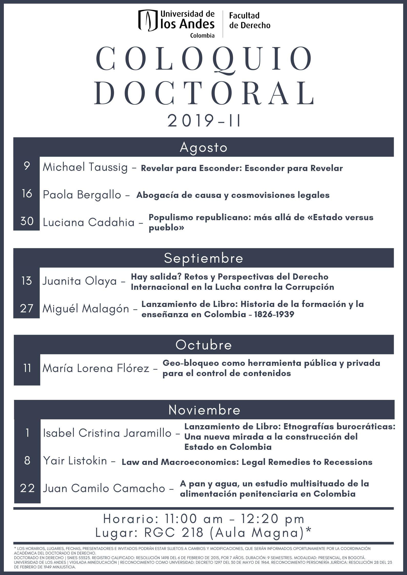 Coloquio Doctoral programación semestral 2019-2