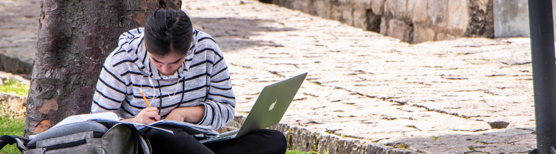 Cursos que ofrece el pregrado en Derecho de Los Andes a otras facultades. Estudiante sentada en el pasto, escribiendo en un cuaderno. Tiene un portátil en sus piernas y viste un saco de color gris claro con rayas horizontales.