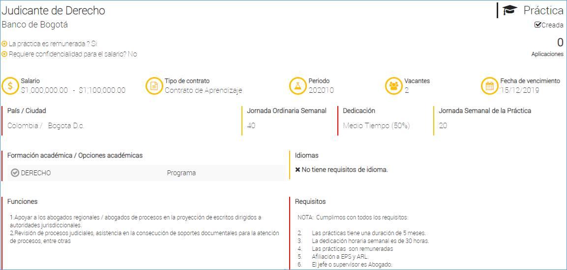 Oportunidad de judicatura en el Banco de Bogotá