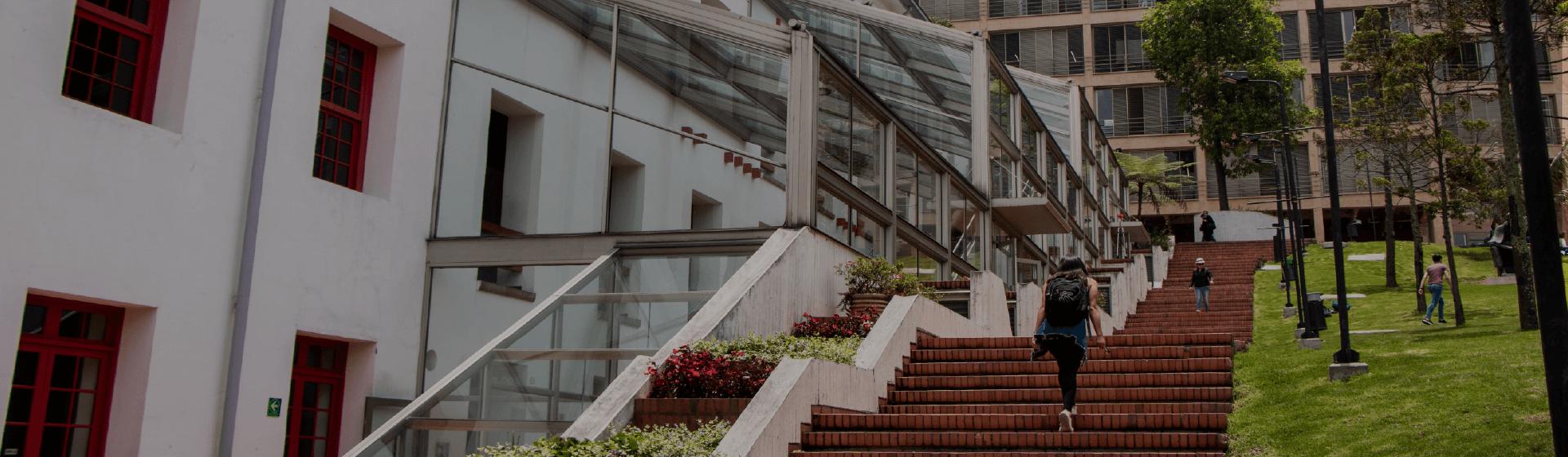 Pregrado y posgrados de la Facultad de Derecho. Se visualizan dos edificios de la Universidad y parte de El Bobo. Estudiante subiendo por unas escaleras.