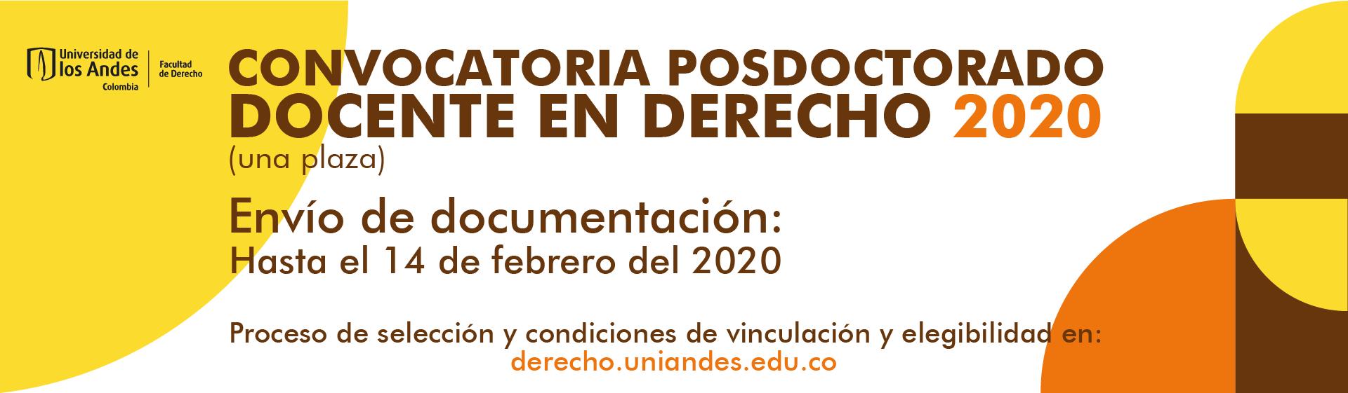 Convocatoria posdoctorado docente en Derecho 2020