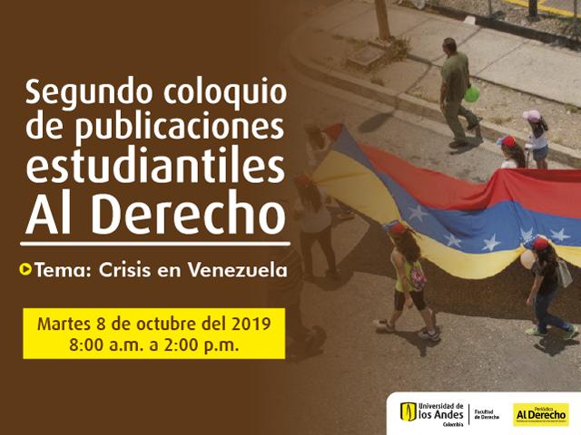 Segundo coloquio de publicaciones estudiantiles Al Derecho. Grupo de personas marchando por una carretera con la bandera de Venezuela en sus manos.