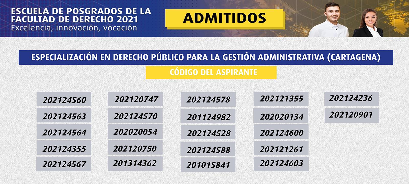 Admitidos 2021 | Especialización en Derecho Público para la Gestión Administrativa (Cartagena) | Uniandes