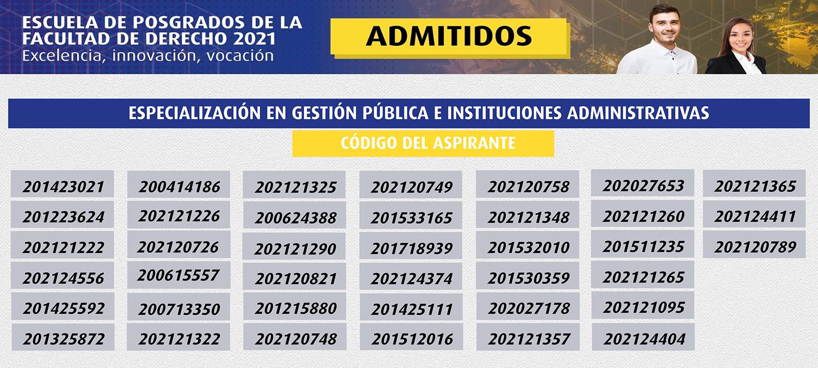 Admitidos 2021 | Especialización en Gestión Pública e Instituciones Administrativas | Uniandes