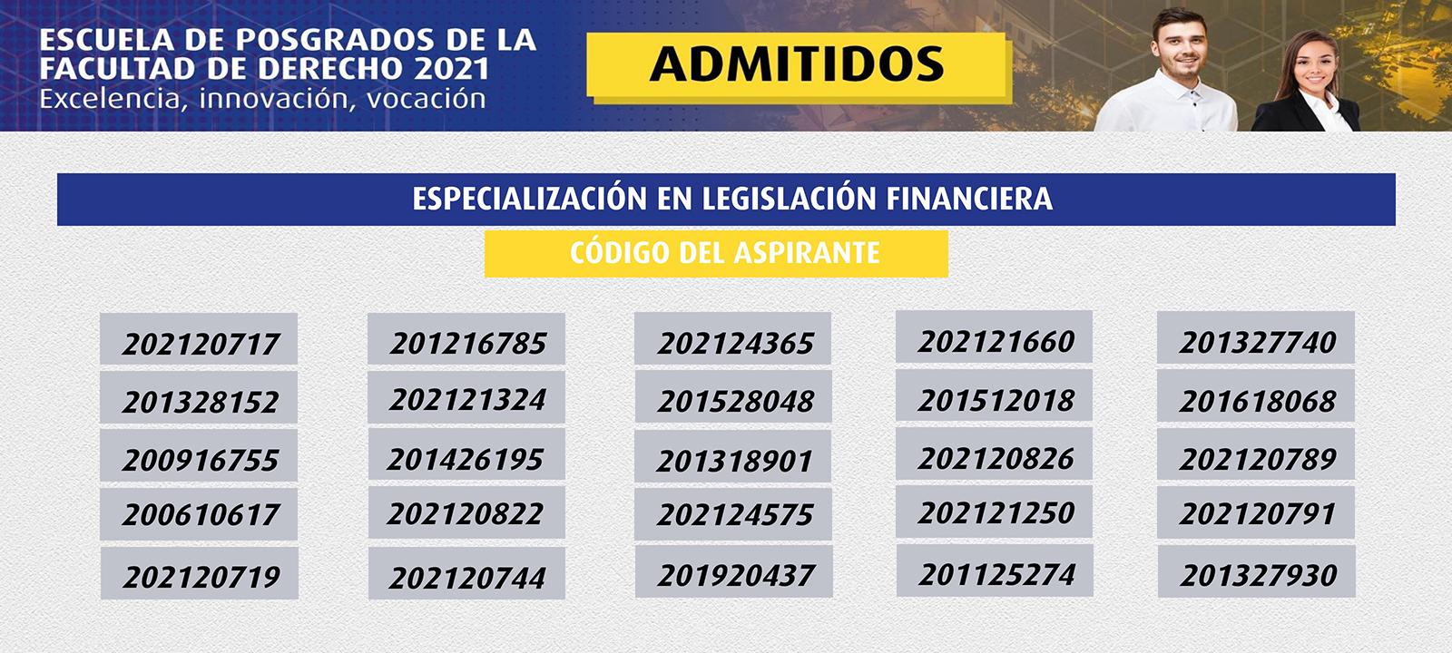 Admitidos 2021 | Especialización en Legislación Financiera | Uniandes