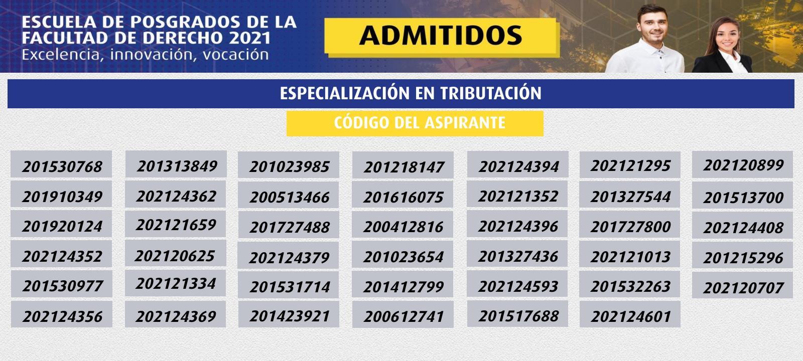 Admitidos 2021 | Especialización en Tributación | Uniandes