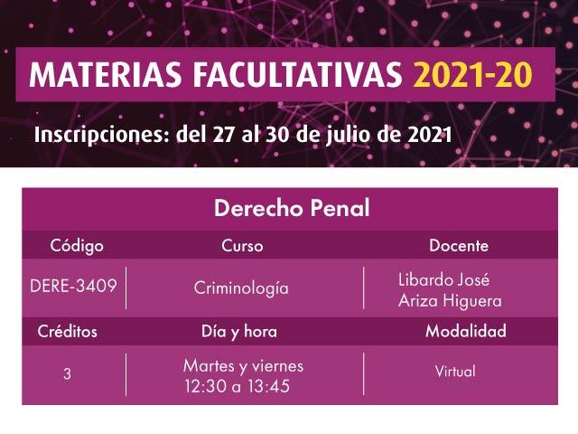Facultativa 2021-20: Criminología | Derecho | Uniandes