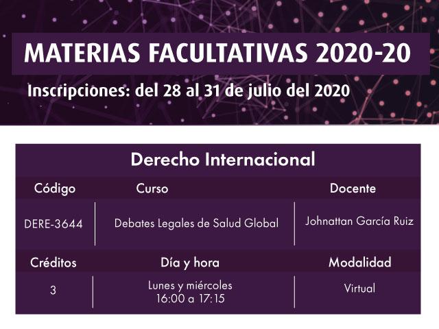 Facultativa 2020-20: Debates Legales de Salud Global