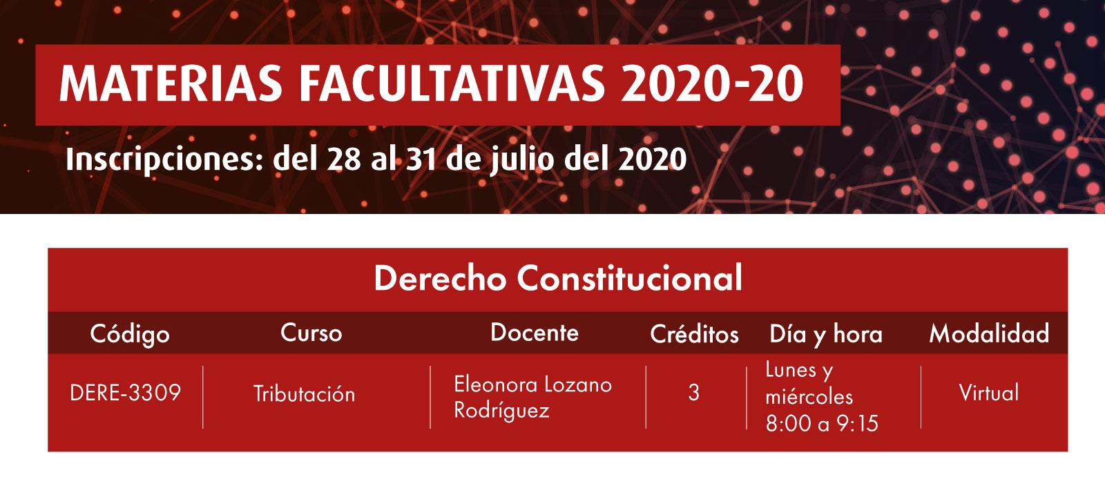 Facultativa 2020-20: Tributación