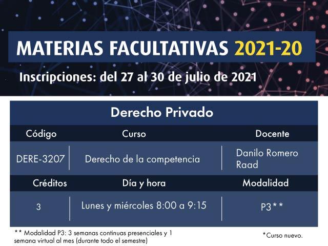Facultativa 2021-20: Derecho de la competencia | Derecho | Uniandes
