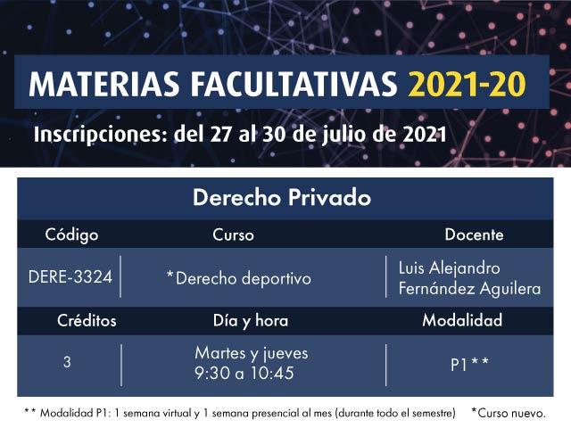 Facultativa 2021-20: Derecho Deportivo | Derecho | Uniandes