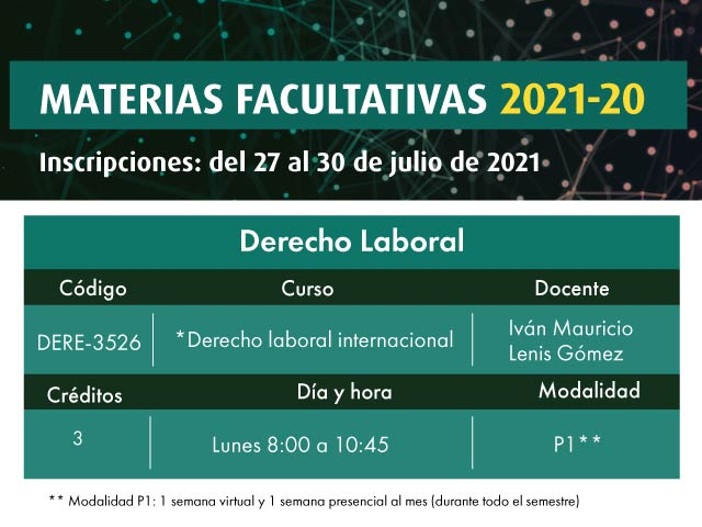 Facultativa: Derecho Laboral Internacional | Derecho | Uniandes