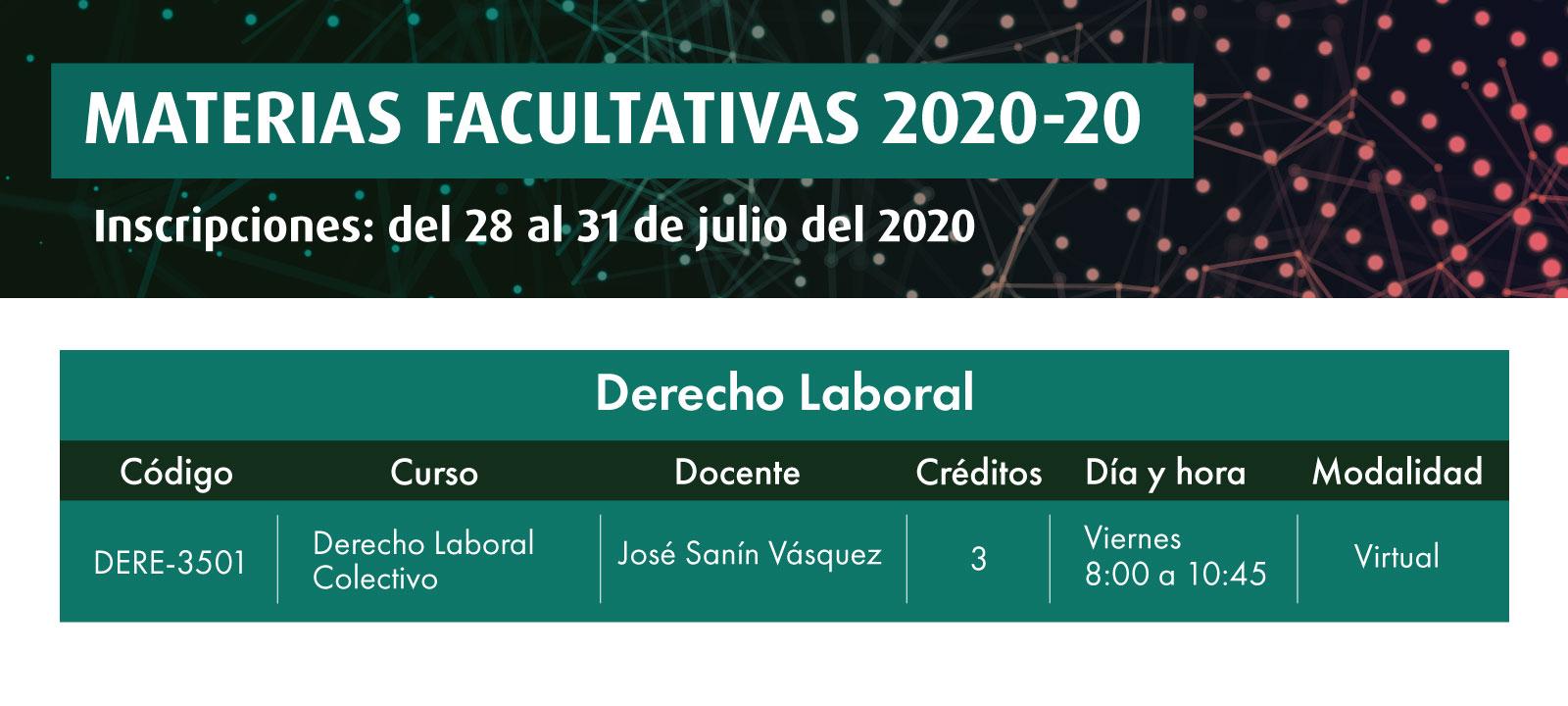 Facultativa 2020-20: Derecho Laboral Colectivo