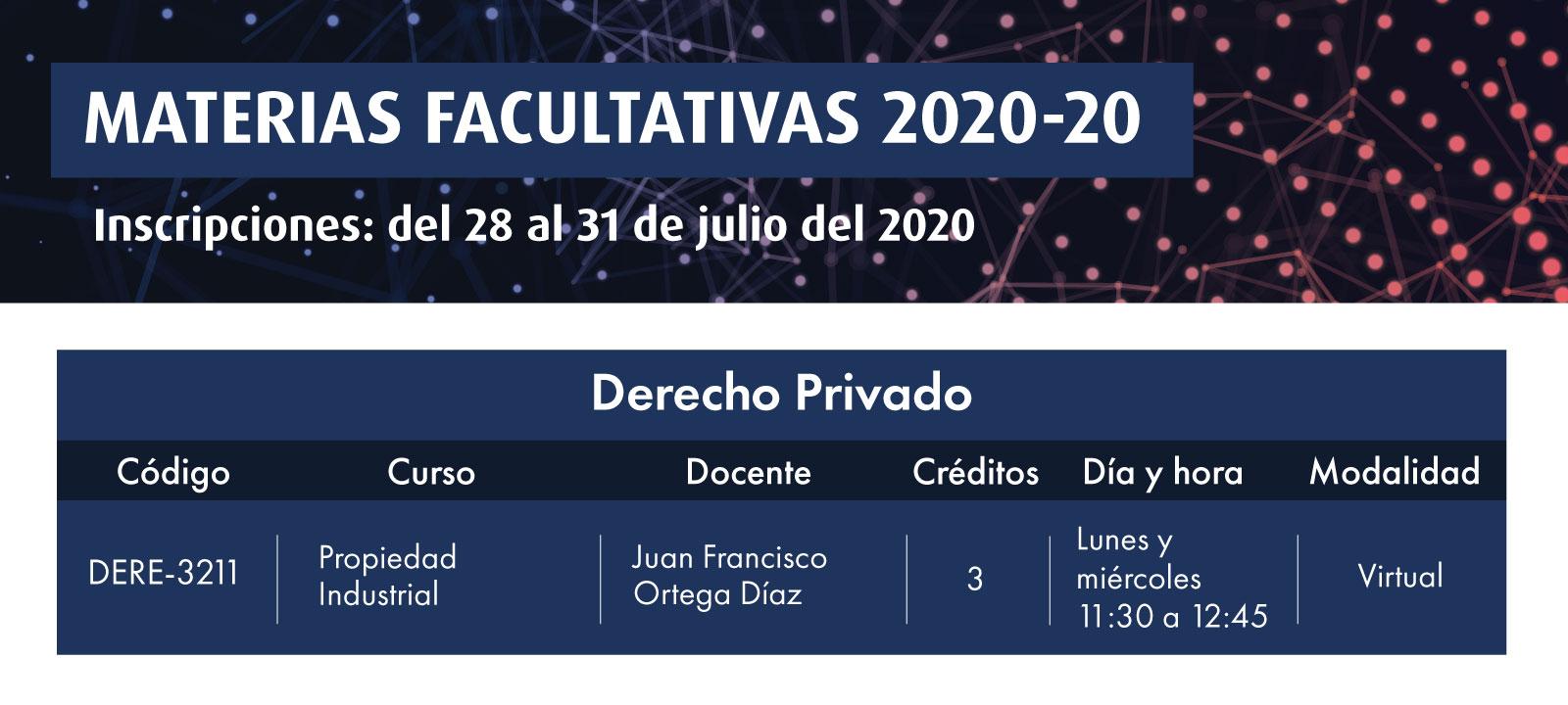 Facultativa 2020-20: Propiedad Industrial