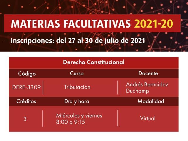 Facultativa 2021-20: Tributación | Derecho | Uniandes