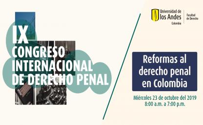 IX Congreso Internacional de Derecho Penal. Banner con varias fotos: libro, Congreso, biblioteca, cárcel.