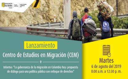 Lanzamiento del Centro de Estudios en Migración (CEM). Tres hombres caminando por una carretera, con morrales en sus espaldas.